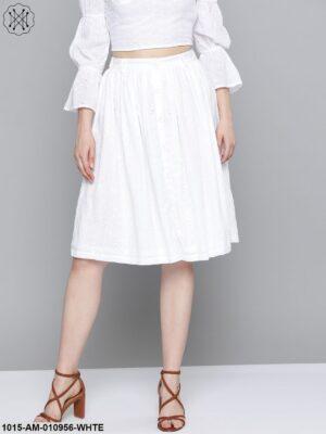 White Schiffli Buttoned Skirt