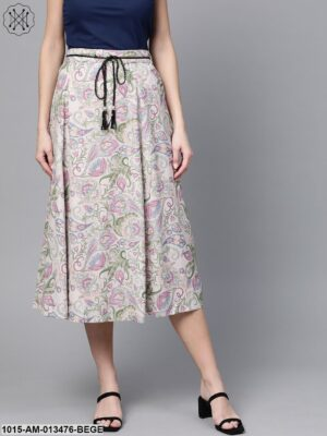 Beige Paisley Flared Belted Skirt