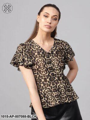 Black Cheetah Peplum Top