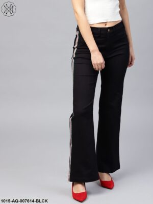 Black Side Tape Bell Bottom Pants
