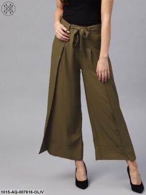Olive Wrap Belted Pants