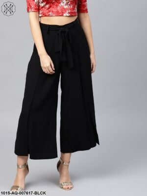 Black Wrap Belted Pants