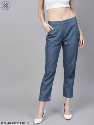 Blue Denim Tapered Roll-Up Pants