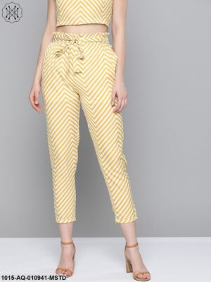 Mustard Chevron Tapered Belted Pant
