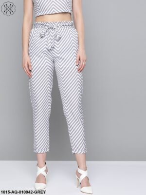 Grey Chevron Tapered Belted Pant