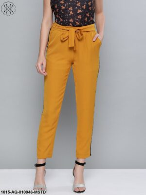 Mustard Side Tape Detail Tapered Pants