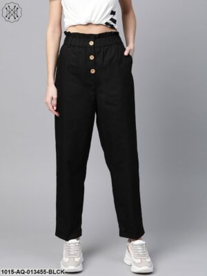 Black Front Button Tapered Pants