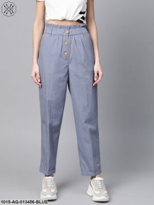 Blue Front Button Tapered Pants