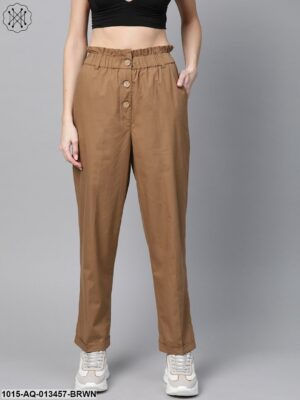 Brown Front Button Tapered Pants