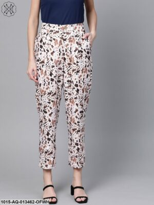 Off White Leopard Dart Trousers