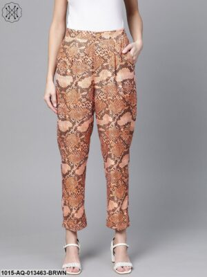 Brown Snake Print Dart Trousers