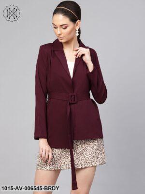 Burgundy Belted Jacket