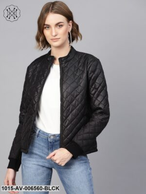 Black Quilted Jacket With Zip On Sleeves