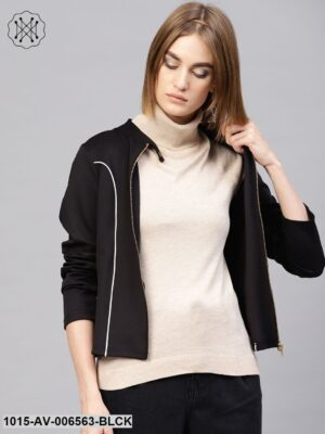 Black Scuba Contrast Piping Jacket