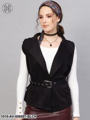 Black Scuba Sleeveless Belted Jacket