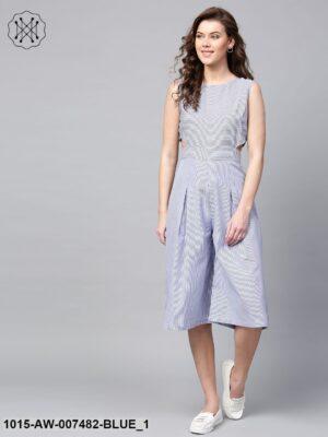 Blue Stripes Culottes Jumpsuit