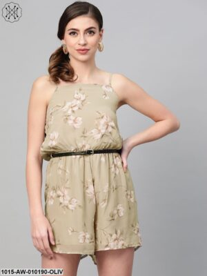 Olive Floral Strappy Romper With Pu Belt