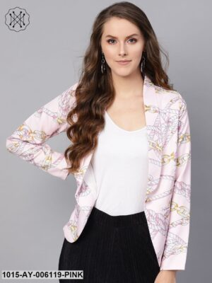 Pink Chain Print Collar Blazer