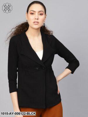 Black Side Elastic Blazer