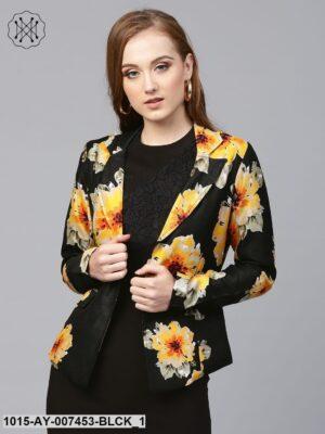 Black Floral Silk Blazer