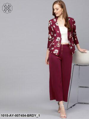 Burgundy Floral Silk Blazer