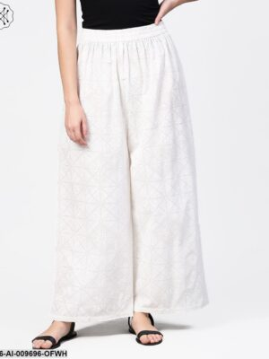 Off White Printed Ankle Length Pallazo