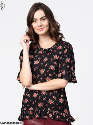 Black Printed Half Sleeve Cotton Tops