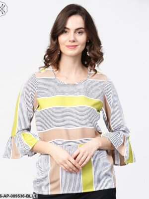 Blue Stripes 3/4Th Sleeve Crop Tops