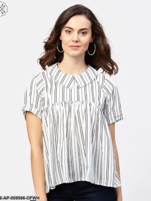 Striped Printed Short-Shirt Collar And Elbow Sleeves A-Lined Top