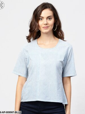 Blue Striped Short Sleeve Top With Round Neck