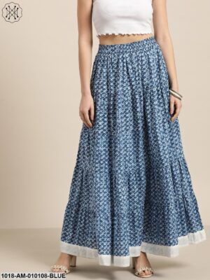 Blue Geo Print Tiered Skirt With Printed Border