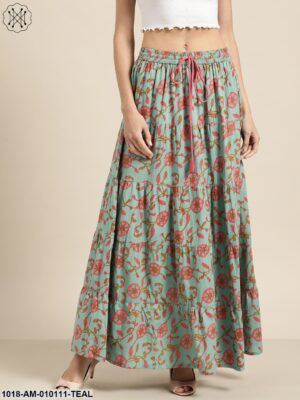 Teal Blue Floral Tiered Skirt