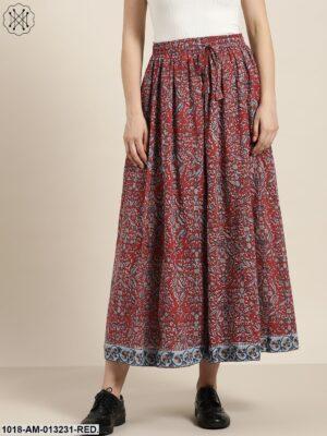 Red Printed Anarkali Skirt