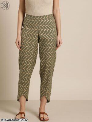 Olive Chevron Foil Tulip Pants