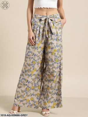 Grey Floral Pleated Palazzo