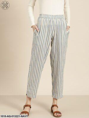 Navy Striped Pants