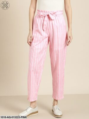 Pink Stripes Paper Bag Pants