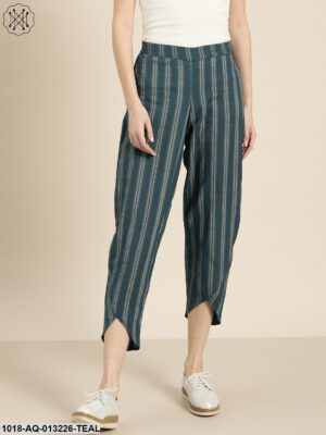 Teal Striped Tulip Pants