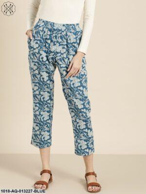 Blue Floral Straight Pants
