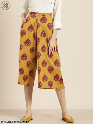 Mustard Floral Booti Flared Pants