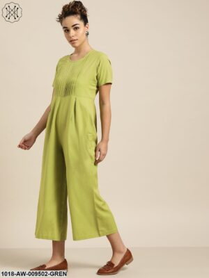 Green Pleated Jumpsuit