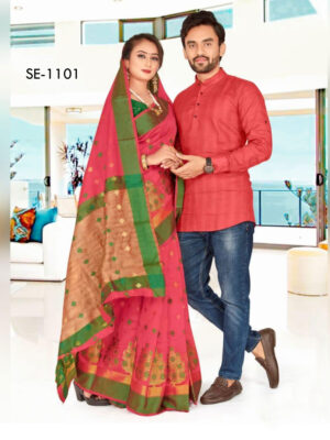SE1101 Designer Saree and Kurta Combo