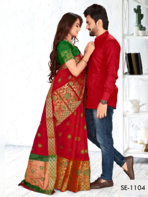 SE1104 Designer Saree and Kurta Combo