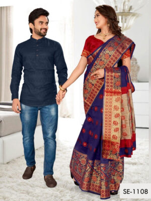 SE1108 Designer Saree and Kurta Combo
