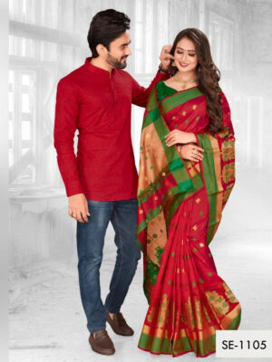 SE1105 Designer Saree and Kurta Combo