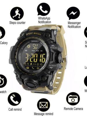 Bluetooth Clock EX16 Smart Watch Notification Remote Control Pedometer Sport Watch IP67 Waterproof Men's Wristwatch