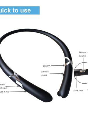 Bluetooth Ear Phones Sport Wireless Neckband Headset Retractable Sweatproof Bloototh Earphone for Galaxy Note 9