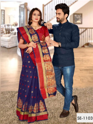 SE1103 Designer Saree and Kurta Combo