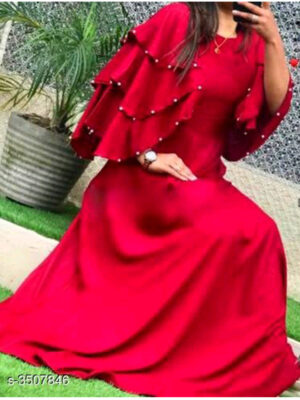S3507846 Three Layer Pearls Sleeves Gown