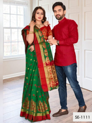 SE1111 Designer Saree and Kurta Combo